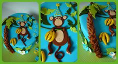 Monkey and bananas - The resquest was a cake with a monkey for Mila, 2 years old who loves monkeys. Of course, this is a banana cake with buttercream covered with fondant. I had a lot of fun creating this design and making this cake. I love the monkey with his birthday hat!