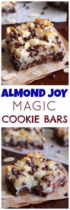 Joy Magic Cookie Bars Almond Joy Magic Cookie Bars - These are one of the BEST magic cookie bars you will ever put in your mouth.Almond Joy Magic Cookie Bars - These are one of the BEST magic cookie bars you will ever put in your mouth. Desserts Nutella, Köstliche Desserts, Dessert Recipes, Bar Recipes, Recipies, Coconut Desserts, Bar Cookie Recipes, Coconut Macaroons, Coconut Recipes