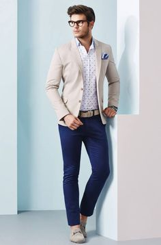 Men's Beige Blazer, White and Navy Polka Dot Long Sleeve Shirt, Navy Chinos, Beige Suede Driving Shoes Mens Fashion Blog, Mens Fashion Suits, Men's Fashion, Gentleman Fashion, Smart Casual, Men Casual, Navy Chinos, Chinos And Blazer Men, Beige Outfit