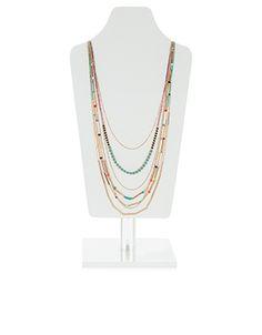 Collier cordon long composé de perles multicolores Kerala