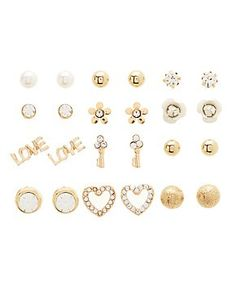 Flower Heart Stud Earrings 12 Pack