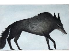 Inky Wolf hand colored drypoint by VIZArt on Etsy, $30.00