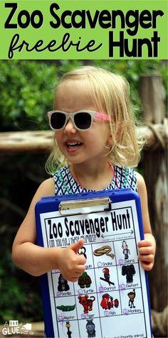 Zoo Scavenger Hunt FREEBIE - A Dab of Glue Will Do