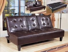 Adjustable sofa /bed with middle arm rest [enclosed porch / family room].