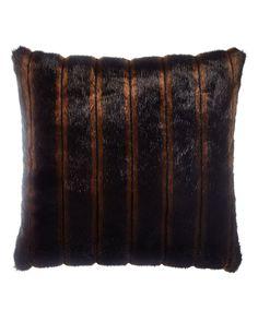 "Faux-Fur Pillow, 18""Sq., Brown - Sweet Dreams"