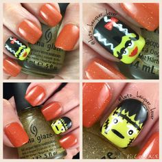 """Inspired by @nailsbycambria and her Frankenstein mani! I love it! Orange is IBD Happily Brighter After with China Glaze Golden Enchantment on top. The """"monsters"""" are a base (green) of China Glaze S'more Fun with acrylic paint & craft paint brushes. So cute!! Topped off with #HKGirl #GlistenandGlow ❤️.  #chinaglaze #frankensteinnails #ibd #opi #halloweennails #diynails #nailart #polishaddict  #naturalnails #fallnailart #fallnails"""