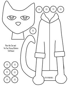 A printable felt board activity for Pete the Cat and His Four