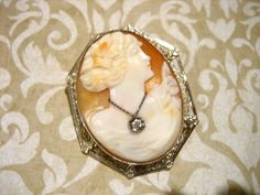 Antique Edwardian Period Hand Carved Shell Cameo with Diamond Necklace