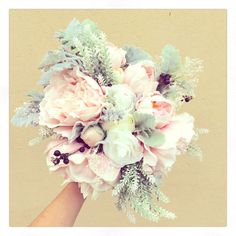 Amazingly natural bouquet for your wedding day..Dusty Miller, white lavender, pastel pink peony, ivory rose bouquet with blueberry accents