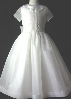 Silk First Communion Dress - Ava - Communion Heirlooms.   (w/lace collar, no bow, no pin tucks or buttons)