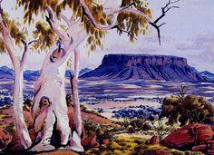 Albert Namatjira, Mount Connor Near Musgrave Range, watercolour on paper, x cm. Aboriginal History, Aboriginal Culture, Aboriginal Artists, Watercolor Landscape, Landscape Art, Landscape Paintings, Watercolor Art, Indigenous Australian Art, Australian Artists