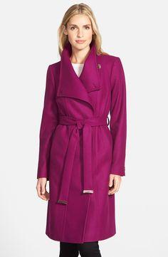 Ted Baker London 'Lorili' Funnel Neck Wool Blend Wrap Coat purple