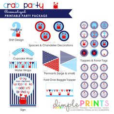 Preppy Crab Deluxe Printable Party Package - Dimple Prints Shop
