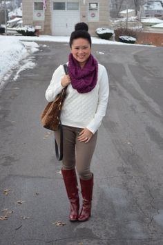 The Glittered Owl scarf, Express sweater and skinnies, DVF boots