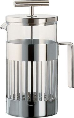 The heat resistant glass of the Aldo Rossi Press Filter Coffee Maker or Infuser makes it a very desirable item. Encapsulated in stainless steel, this coffee maker will make the perfect cup of coffee e