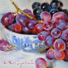Red and Black Grapes by Elena Katsyura Oil ~ 6 in x 6 in