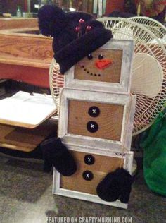 Picture frame snowman craft to make for winter or christmas time! So cute