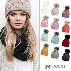 Neverless® gefütterte Damen Strickmütze mit Fell-Bommel und Fleece Futter, Winter-Mütze, Bommelmütze dunkelbeige unisize: Amazon.de: Bekleidung