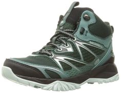 Merrell Women's Capra Bolt Mid Waterproof Hiking Boot, Pine Grove, 10 M US. Mid-cut athletic hiking shoe featuring multiple mesh knits with seamless and seamed overlays. M-Select DRY waterproof, moisture-wicking technology. Metal hook and lacing closure for secure lacing. Bellows tongue to keep out debris. Breathable mesh lining. M-Select FIT.ECO contoured footbed with organic odor control.