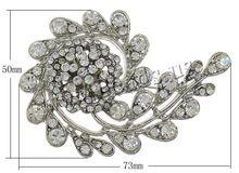 20PCs/Lot Cheap Jewelry Fashion Zinc Alloy Flower platinum color plated with rhinestone Rhinestone Brooches(China (Mainland))