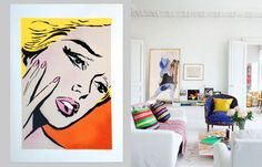 A hyper-colour design print by NZ street and stencil artist Component would look awesome in a bright, personality-filled living space like this.  http://www.endemicworld.com/blondie-art-print-by-component.html