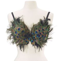 "Peacock feathers--real, reclaimed ones!--wink their ""eyes"" from this sensational top! Padded cups, adjustable, removable elastic straps. Poly/cotton. Dry clean. Imported. Sizes: S/M (32-34 A/B), M/L (36-38 B/C), L/XL (38-40 C/D)."