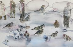 "Saatchi Art Artist Sabina Sinko; Painting, ""passers by in the winter"" #art"