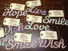 Lots of lovey napkin decoupaged words with beautiful vintage feel tags.