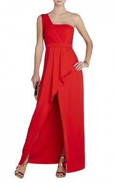 Kristine One Shoulder Peplum Red BCBG Gown