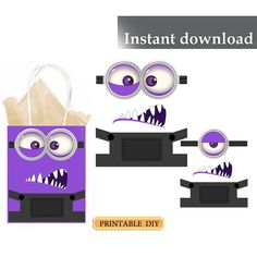 DIY Printable Instant Download Minion purple inspired birthday party balloons eyes, googles, overalls, stickers
