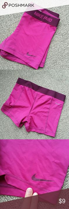 Nike Magenta Spandex Booty Short Awesome Nike DriFit booty shorts. Also selling these in teal (check out my bundle deal!). Nike swoosh has some cracking, price adjusted accordingly. All offers considered! Nike Shorts