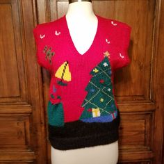 7c181f4e04a Vintage Ugly Christmas Sweater Vest Hand Knit Windcrest Sz Small Santa  Sleigh