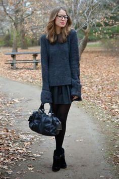 pleated black leather skirt