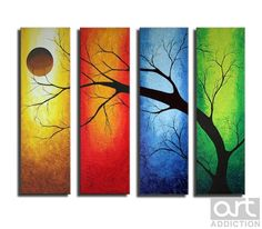 A tree through the 4 seasons of the year.