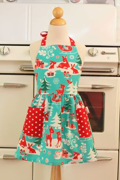 Child Christmas Apron Retro Deer by Boojiboo on Etsy