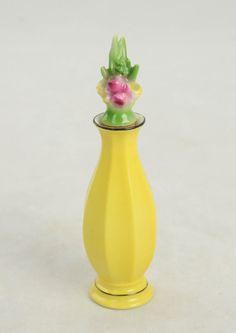 Vintage Art Deco Bavaria Floral Porcelain Yellow  Perfume Cologne Bottle Dauber