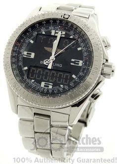 $2,345 Men's #Breitling B-1 A68362 Analog & Digital Display #Watch with Fighter Bracelet