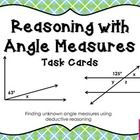 This FREEBIE is a set of 16 task cards practicing reasoning with angle measures.  Concepts included in this task card set are: vertical angles complementary angles supplementary angles adjacent angles corresponding angles parallel lines transversals