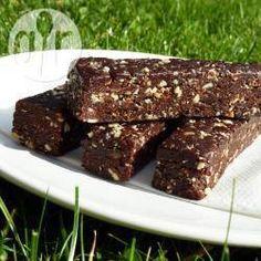 Rezeptbild: Gesunde vegane Schokoladen-Riegel ohne Kochen, Raw foods, Rohkost, vegan, ohne backen