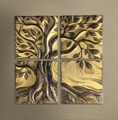 "24"" x 24"" handsculpted, sgraffito-carved, ceramic wall art tile. http://natalieblakestudios.com/shop/little-honey-tree/"