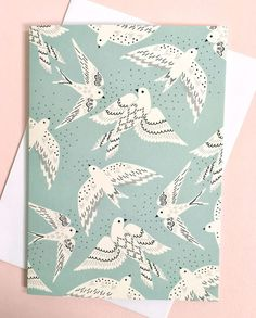 Greetings card / Cream birds with black and by Elviravvdesigns Art And Illustration, Vogel Illustration, Pattern Illustrations, Design Textile, Design Floral, Bird Design, Bird Patterns, Textile Patterns, Print Patterns