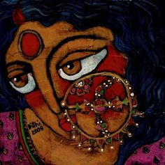 Art by Dithi Chakrabortty Indian Women Painting, Indian Art Paintings, Indian Art Gallery, Indian Folk Art, India Art, Fabric Painting, Face Art, Figurative Art, Art Forms