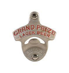 """Vintage """"Grand Prize Lager"""" Bottle Opener Wall Mount"""