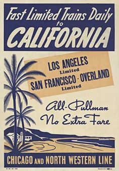 California vintage travel poster. North Western Line. Train.