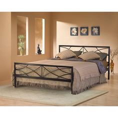 This Sonora full-size platform bed is conveniently made to be used without a box spring. Finished in a neutral metallic black, it will match almost any decor. Its metal grill platform is lighter and stronger than conventional wooden slats Furniture, Spring Bedroom, Home, Full Size Platform Bed, Bedroom Design, Full Size Bed, Bedroom Furniture, Bed, Platform Bed