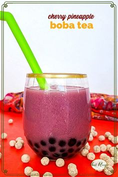 Cherry Pineapple Boba is a delicious and refreshing homemade bubble tea made with cherry tea, pineapple juice and tapioca pearls. homemade bubble tea | boba tea recipes | iced tea recipes Iced Tea Recipes, Easy Drink Recipes, Boba Tea Recipe, Easy Mixed Drinks, Low Calorie Drinks, Homemade Bubbles, Tapioca Pearls, Baking With Kids