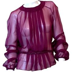 Pre-owned Valentino Silk Blouse ($520) ❤ liked on Polyvore featuring tops, blouses, burgundy, burgundy silk blouse, purple silk top, purple blouse, purple silk blouse and silk top