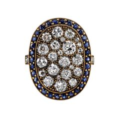 Large Oval Sapphire Diamond Gold Cobblestone Ring   See more rare vintage More Rings at http://www.1stdibs.com/jewelry/rings/more-rings