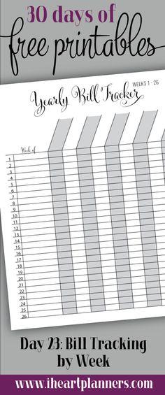 free printable: bill tracker by week.