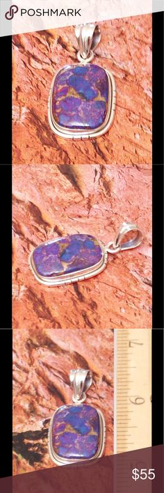 Turquoise, Mojave Purple Turquoise, Mojave Purple Turquoise from the Kingman mine in Arizona. Done in a very simple setting which allows the stone to be the star. .925 Sterling Silver Nickel Free Pendant. I will include a chain for the pendant. TGW 8.300 CTs. Jewelry Necklaces